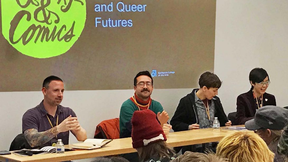 World building and Queer Futures. Michael Harrison, Jeremy Sorese, Maia Kobabe, Kou Chen. Q&C 2017, SF.