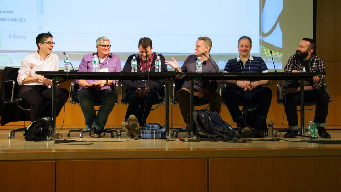 To Be Continued: Creating a Serialized Comic Strip. Alison Bechdel, Paige Braddock, Robert Kirby, Eric Orner, Allan Neuwirth, Ed Luce. Q&C 2015.
