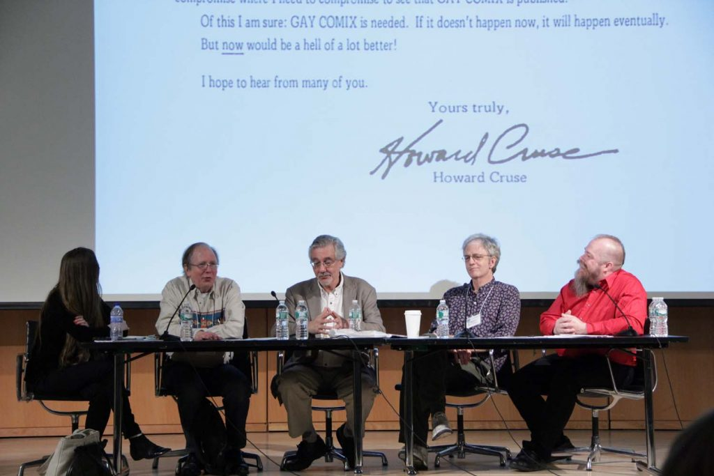 Gay Comix(cs) Reunion. Hillary Chute, Howard Cruse, Denis Kitchen, Robert Triptow, Andy Mangels. Howard's initial letter seeking contributors. Q&C 2015, NYC.
