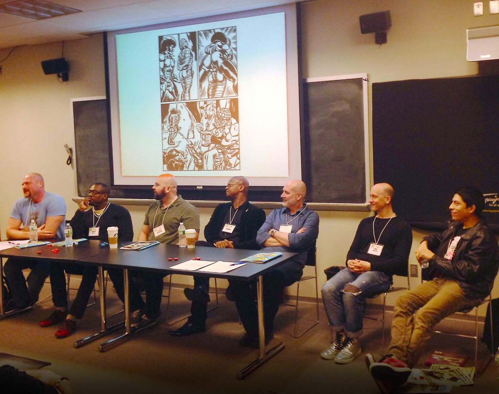 Porn This Way: Male Sexuality in Queer Comics. Justin Hall, Darieck Scott, Steve MacIsaac, C. Edwards, Jon Edwards, Mike Diana, Carlo Quispe. Q&C 2015 NYC.