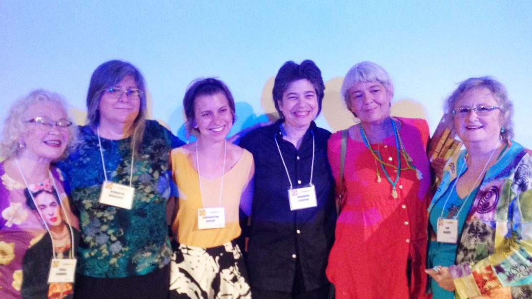 Trina Robbins, Roberta Gregory, Samantha Meier, Jennifer Camper, Mary Wings, Lee Marrs. Q&C 2015.